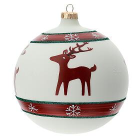 Boule sapin Noël rennes flocons neige verre soufflé 150 mm s4