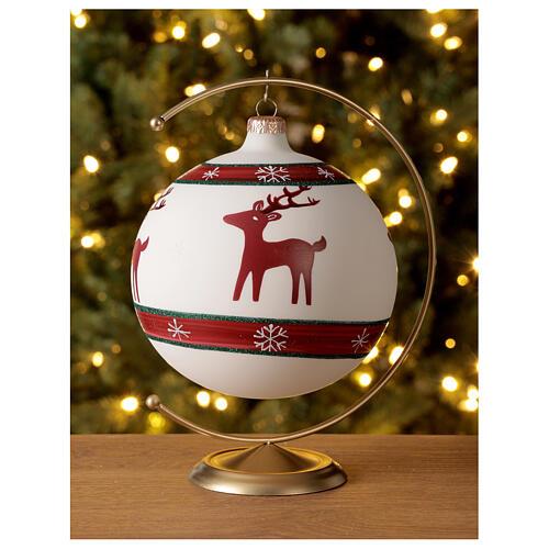 Boule sapin Noël rennes flocons neige verre soufflé 150 mm 2