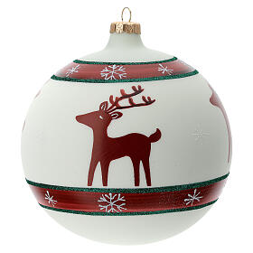 Christmas ball ornament reindeer snowflakes blown glass 150 mm s1