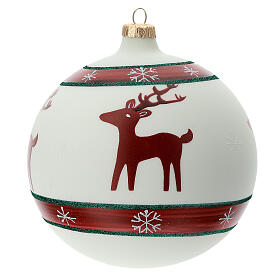 Christmas ball ornament reindeer snowflakes blown glass 150 mm s4