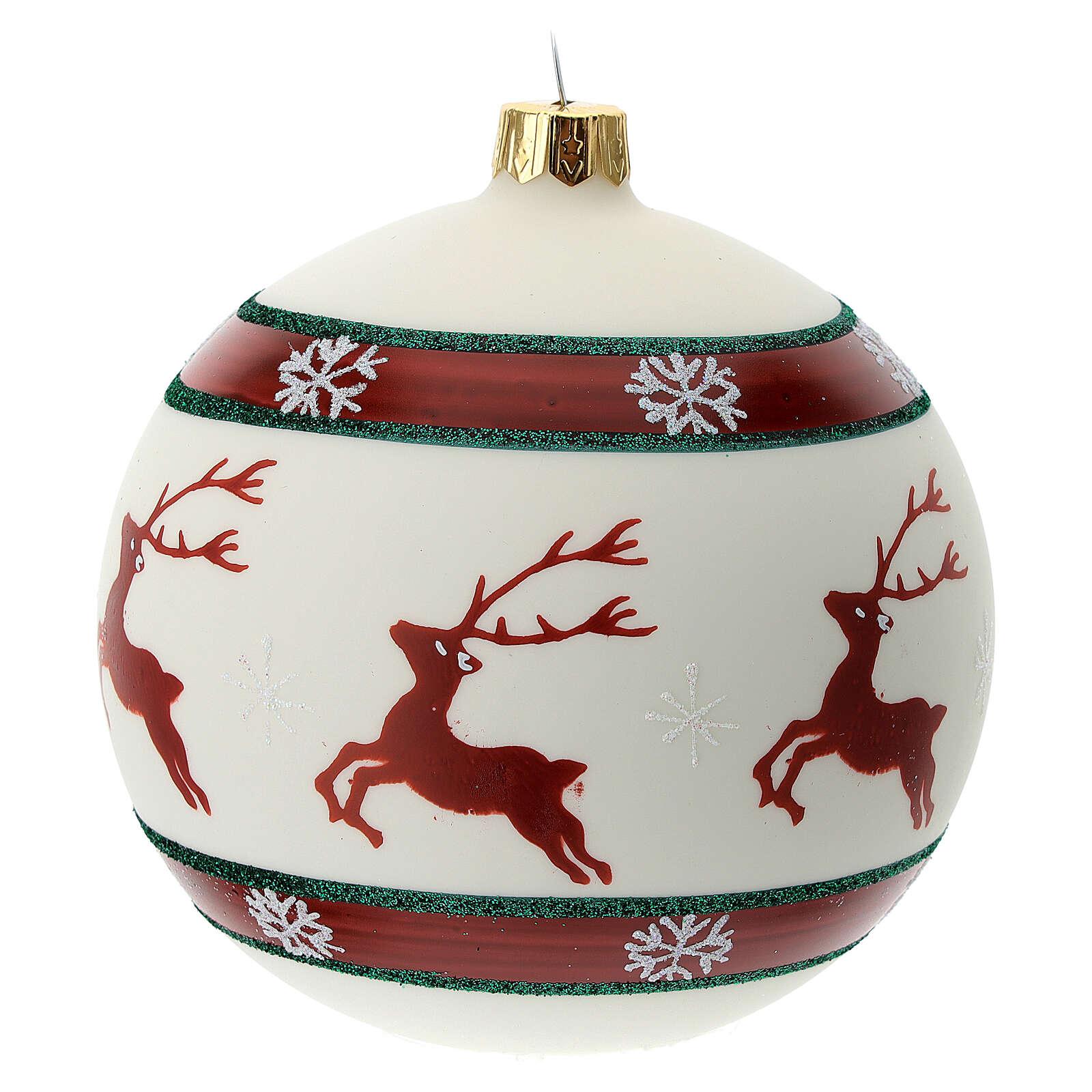 Christmas ball green red white reindeer 100 mm blown glass 4