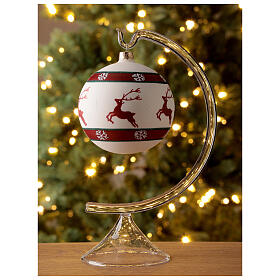 Christmas ball green red white reindeer 100 mm blown glass s2