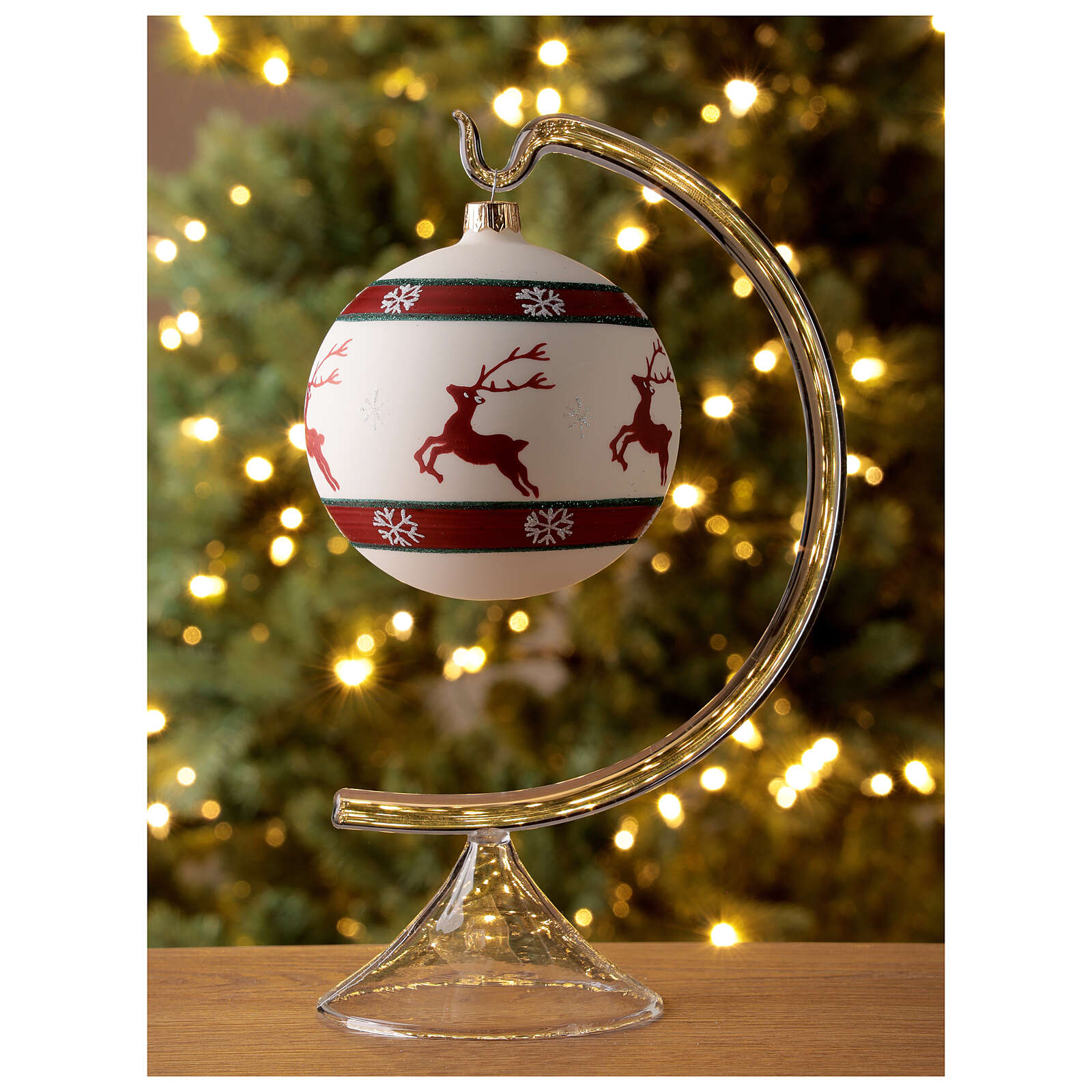 Pallina Natale verde rosso bianco renne 100 mm vetro soffiato 4