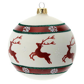 Pallina Natale verde rosso bianco renne 100 mm vetro soffiato s1