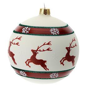 Pallina Natale verde rosso bianco renne 100 mm vetro soffiato s3