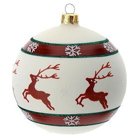 Pallina Natale verde rosso bianco renne 100 mm vetro soffiato s4