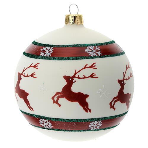 Pallina Natale verde rosso bianco renne 100 mm vetro soffiato 1