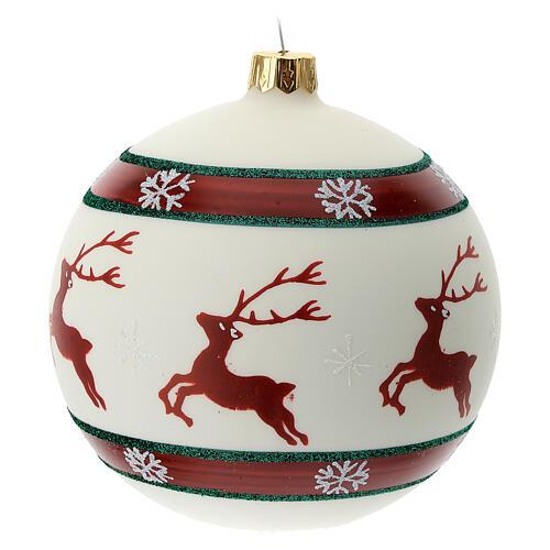 Pallina Natale verde rosso bianco renne 100 mm vetro soffiato 3
