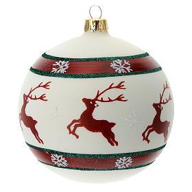 Bola árvore de Natal com renas e flocos de neve vidro soprado branco 100 mm s1
