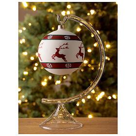 Bola árvore de Natal com renas e flocos de neve vidro soprado branco 100 mm s2