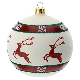 Bola árvore de Natal com renas e flocos de neve vidro soprado branco 100 mm s4