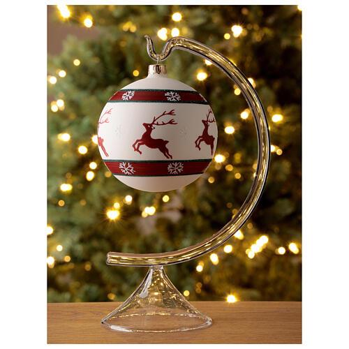 Bola árvore de Natal com renas e flocos de neve vidro soprado branco 100 mm 2