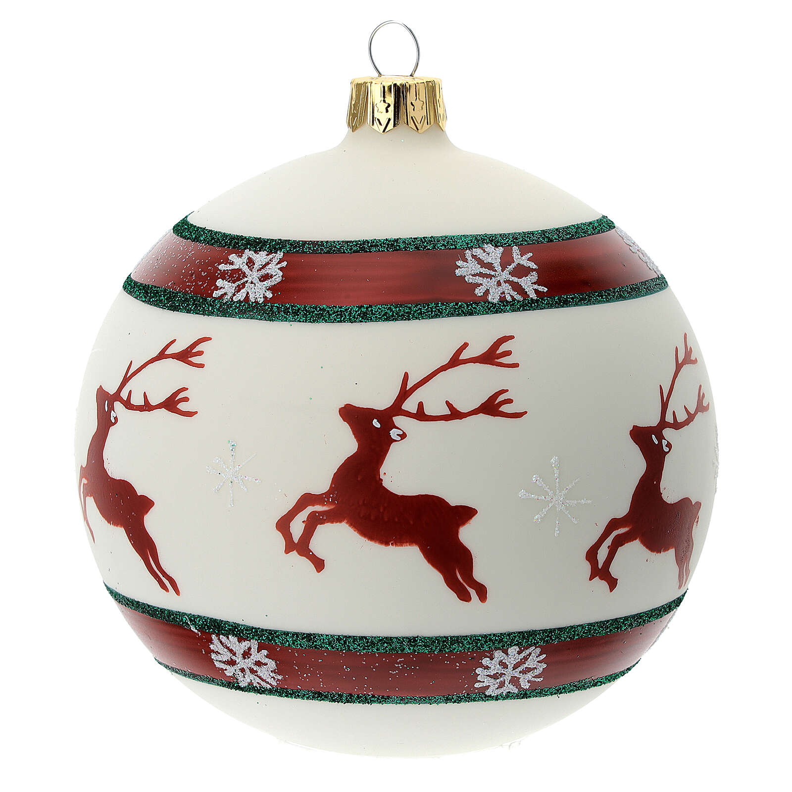 Reindeer Christmas tree ornament green red 100 mm blown glass 4
