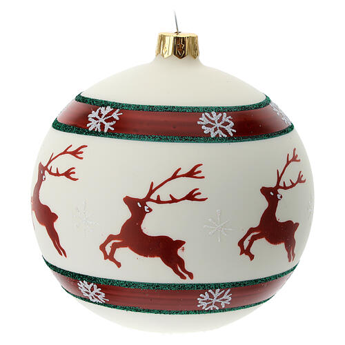 Reindeer Christmas tree ornament green red 100 mm blown glass 3