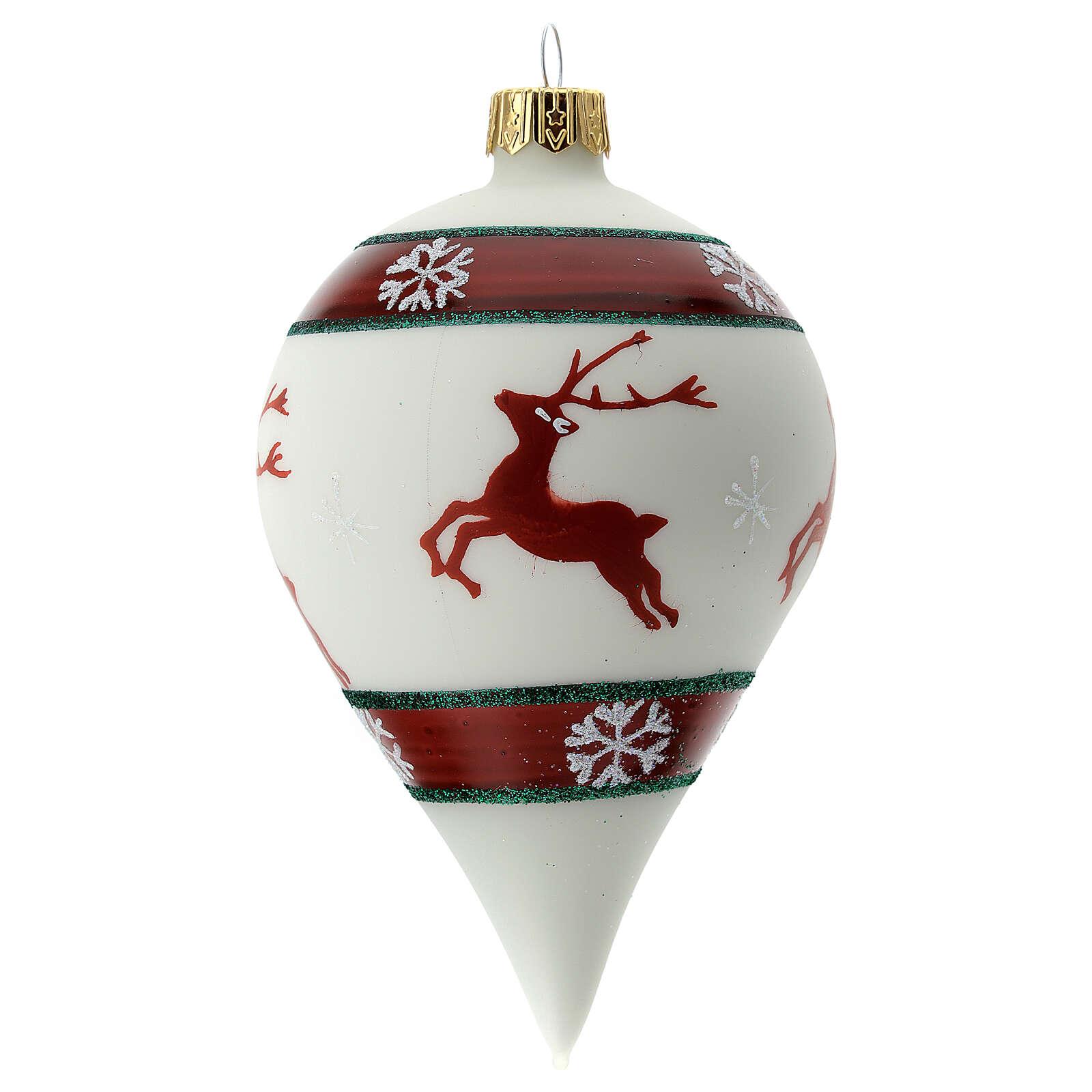 Boule Noël goutte blanche rennes verre soufflé 80 mm 4