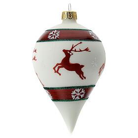 Boule Noël goutte blanche rennes verre soufflé 80 mm s1