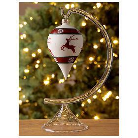 Boule Noël goutte blanche rennes verre soufflé 80 mm s2
