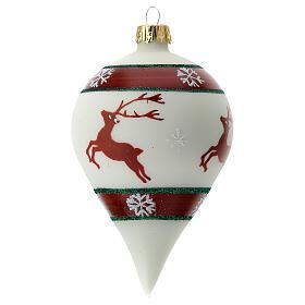 Boule Noël goutte blanche rennes verre soufflé 80 mm s4
