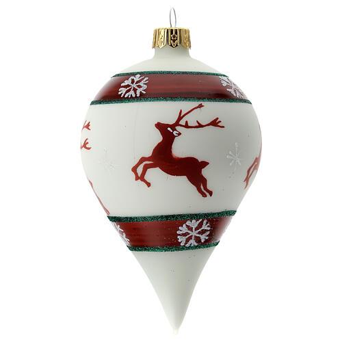 Boule Noël goutte blanche rennes verre soufflé 80 mm 1