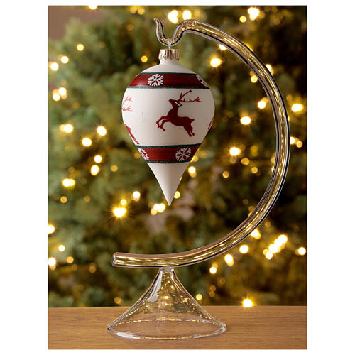 Boule Noël goutte blanche rennes verre soufflé 80 mm 2