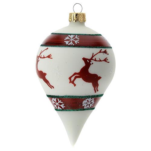 Boule Noël goutte blanche rennes verre soufflé 80 mm 3
