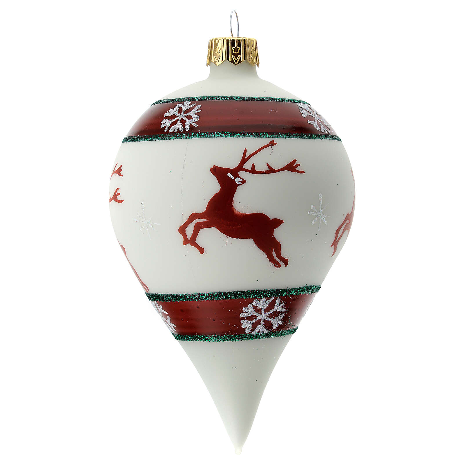Glass Christmas drop ornament white reindeer 80 mm 4