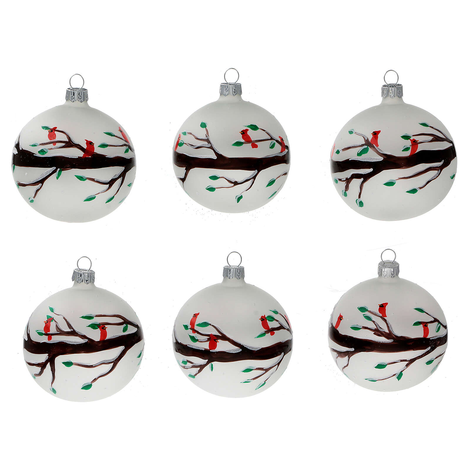 Christmas ball ornaments branches red birds blown glass 80 mm 6 pcs 4