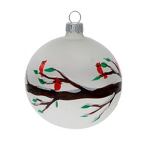 Christmas ball ornaments branches red birds blown glass 80 mm 6 pcs s2
