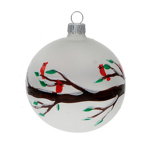 Christmas ball ornaments branches red birds blown glass 80 mm 6 pcs 2