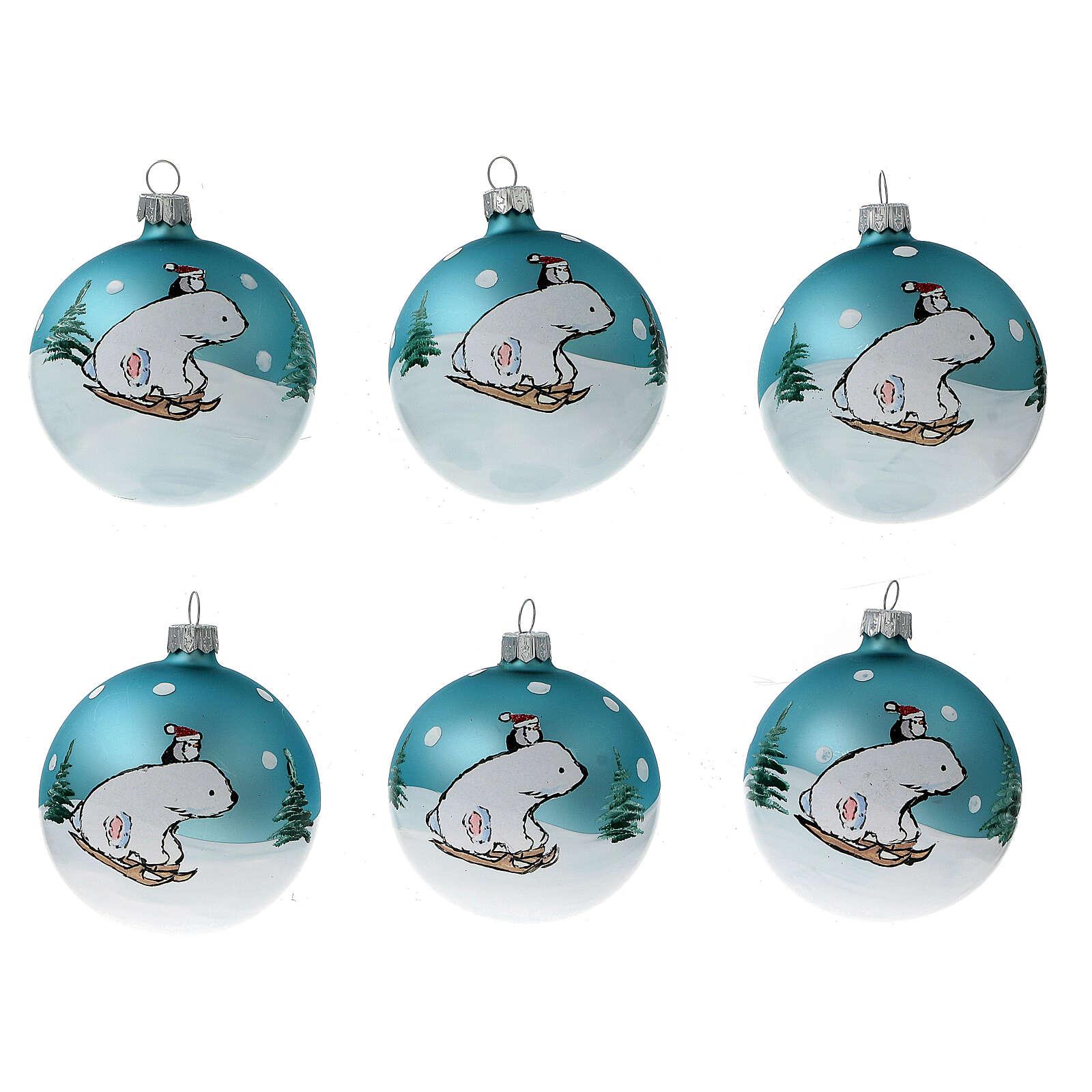 Pallina Natale orsetto stilizzato vetro soffiato 80 mm 6 pz 4