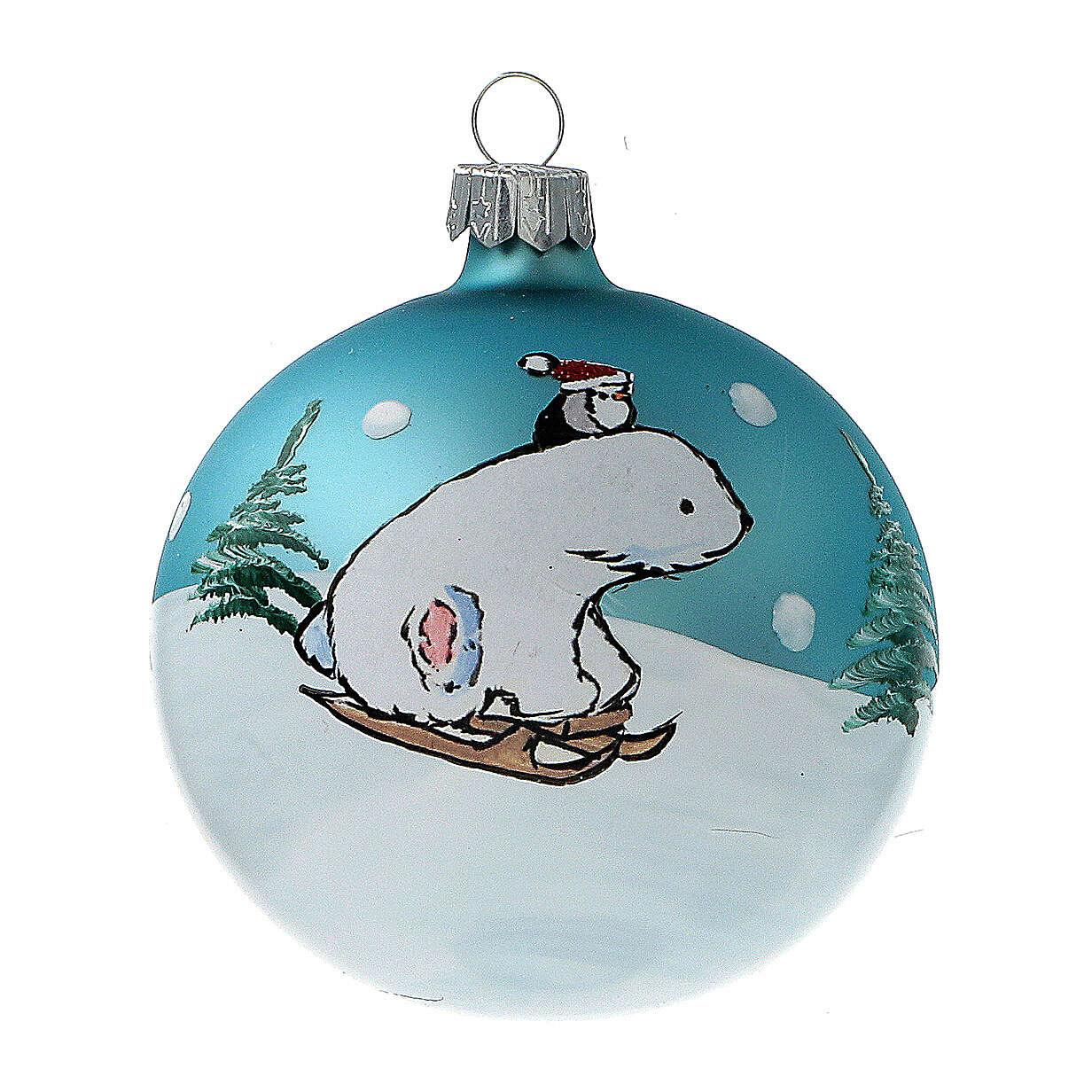 Polar bear Christmas ball ornament blown glass 80 mm 6 pcs 4