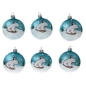 Polar bear Christmas ball ornament blown glass 80 mm 6 pcs s1