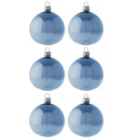Set boules bleu clair brillant 80 mm verre soufflé 6 pcs s1