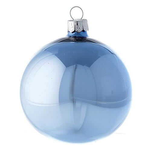 Set boules bleu clair brillant 80 mm verre soufflé 6 pcs 2