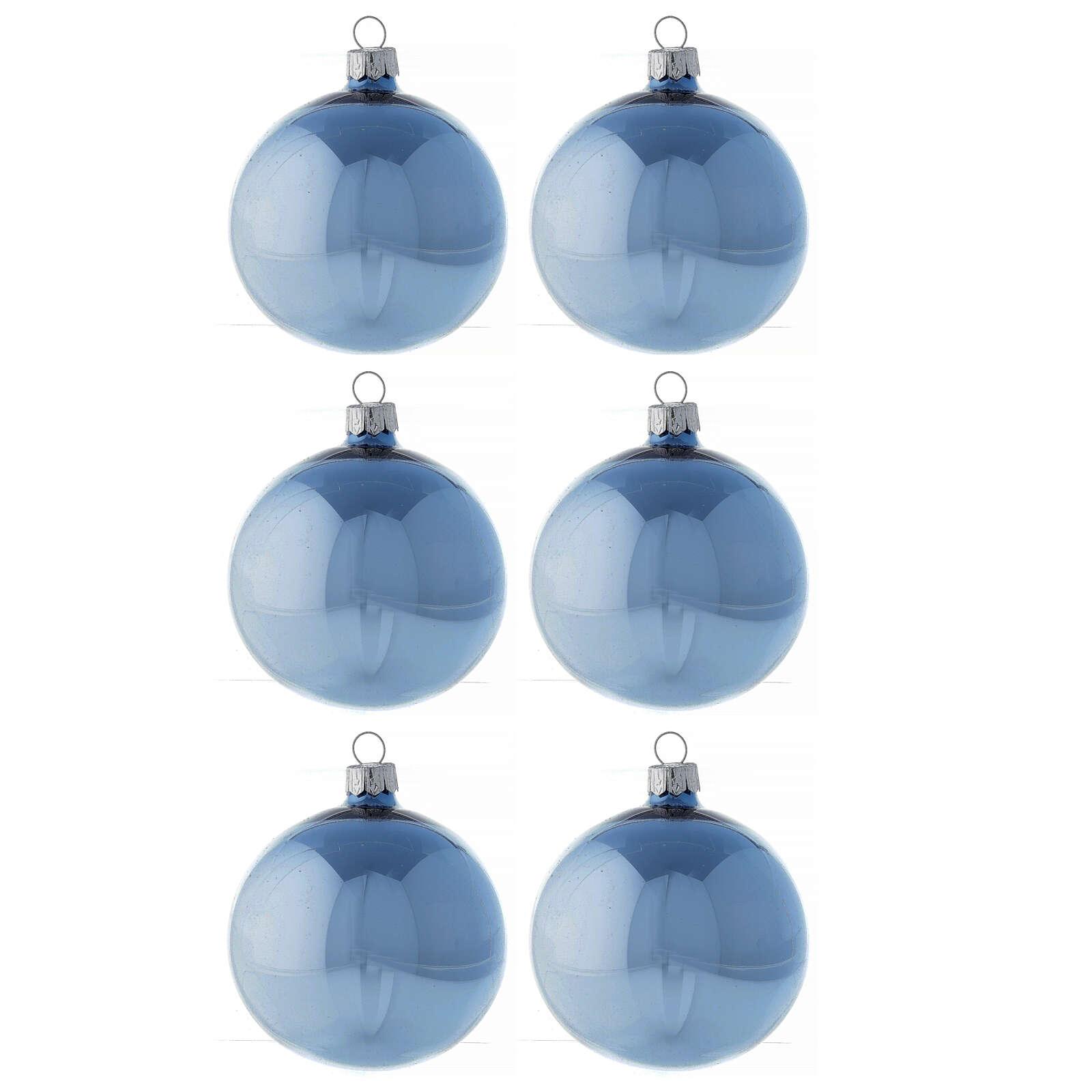Set palline azzurro lucido 80 mm vetro soffiato 6 pz 4