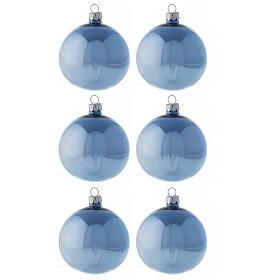 Set palline azzurro lucido 80 mm vetro soffiato 6 pz s1
