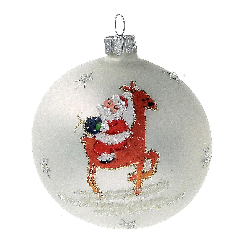 Santa Claus ball reindeer white blown glass 80 mm 6 pcs 4