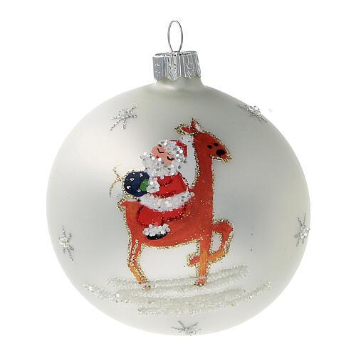 Santa Claus ball reindeer white blown glass 80 mm 6 pcs 2