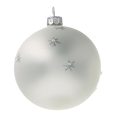 Santa Claus ball reindeer white blown glass 80 mm 6 pcs 3