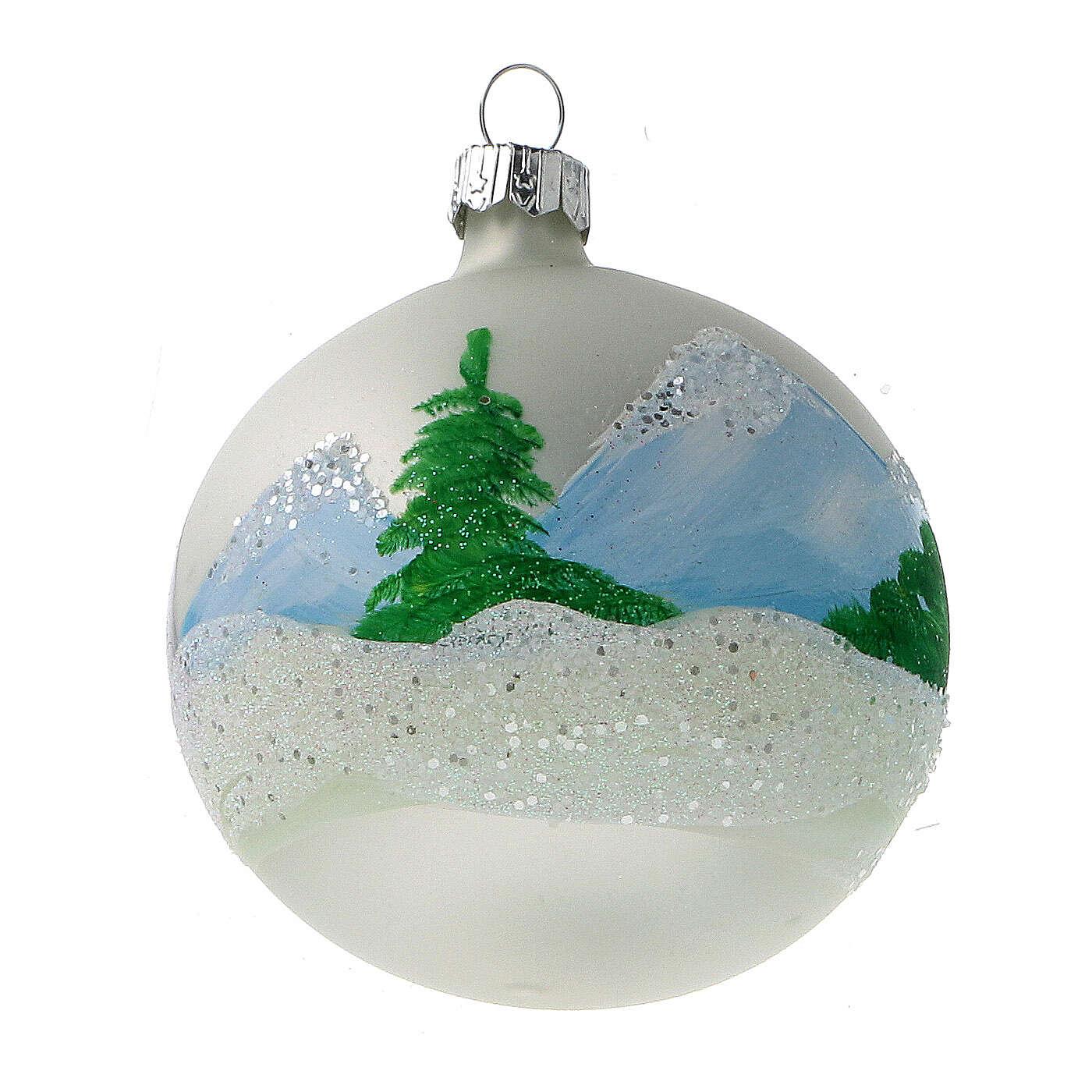 Christmas tree ornaments winter cottage blown glass 80 mm 6 pcs 4