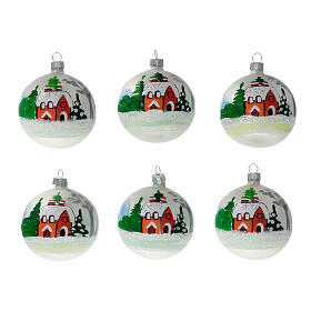 Christmas tree ornaments winter cottage blown glass 80 mm 6 pcs s1