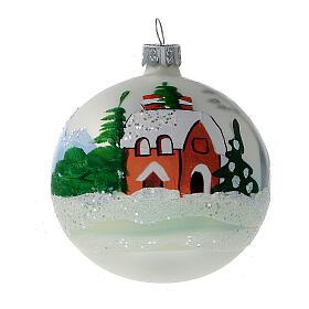 Christmas tree ornaments winter cottage blown glass 80 mm 6 pcs s2