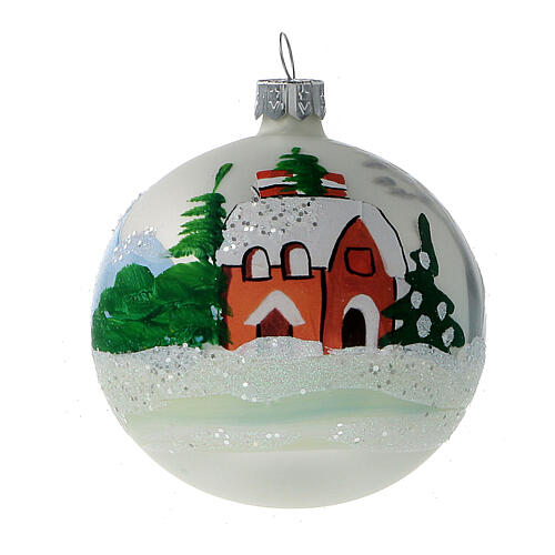 Christmas tree ornaments winter cottage blown glass 80 mm 6 pcs 2