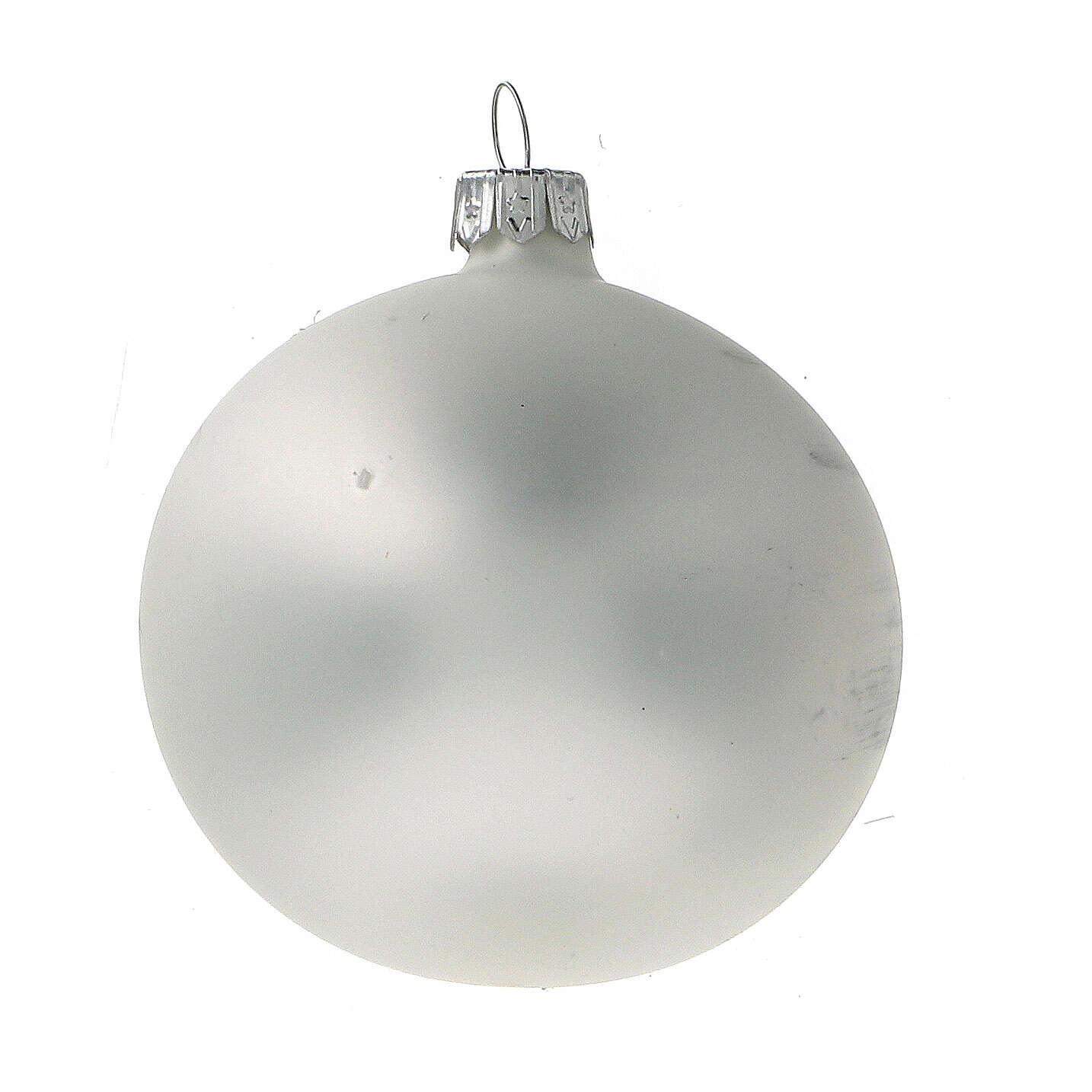 Boule Noël église rouge fond blanc verre soufflé 80 mm 6 pcs 4