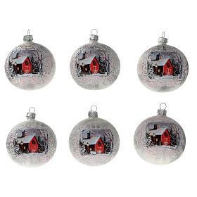 Boule Noël église rouge fond blanc verre soufflé 80 mm 6 pcs s1