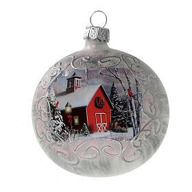 Boule Noël église rouge fond blanc verre soufflé 80 mm 6 pcs s2