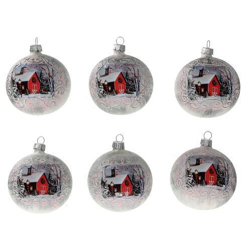 Boule Noël église rouge fond blanc verre soufflé 80 mm 6 pcs 1