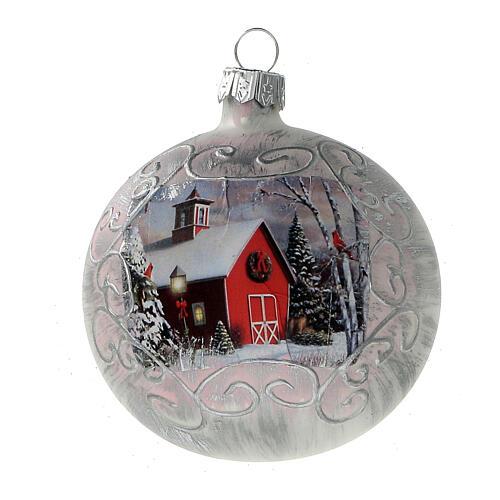 Boule Noël église rouge fond blanc verre soufflé 80 mm 6 pcs 2