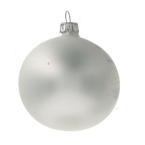 Boule Noël église rouge fond blanc verre soufflé 80 mm 6 pcs 3