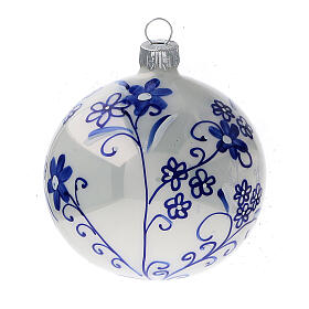 Christmas tree decoration white blown glass blue flowers 80 mm 6 pcs s3